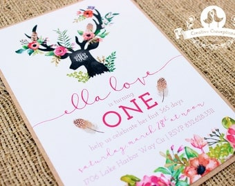 Boho/Woodland First Birthday Party Invitation