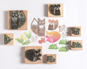 Foxy Family Rubber Stamps