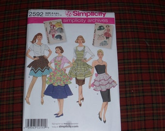 Simplicity 2592....Reproduction from Vintage 1950's Apron Patterns...All Sizes..Mid Century Retro Apron Patterns...Farmhouse Kitchen Apron..