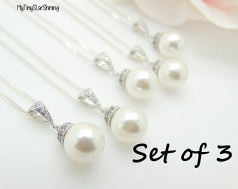Bridesmaid Jewelry Set of 3 Necklaces Bridesmaid Necklace Wedding Jewelry Bridesmaid Gift Swarovski Pearl Necklace Sterling silver 10%Off