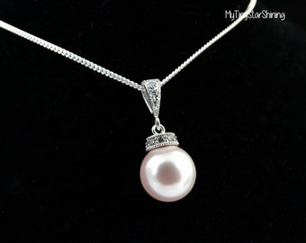 PINK Pearl pendant Necklace Cubic Zirconia Silver with Swarovski Pearl Sterling silver Necklace