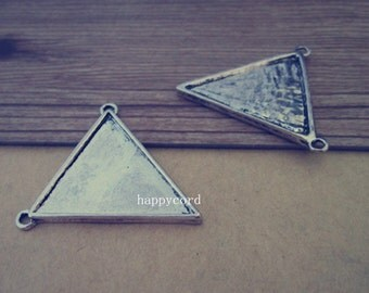 10pcs 25mm x27mm  Antique silver Double sided triangle Pendant Base