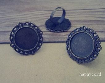 6pcs Adjustable antique bronze circular Blanks 20mm