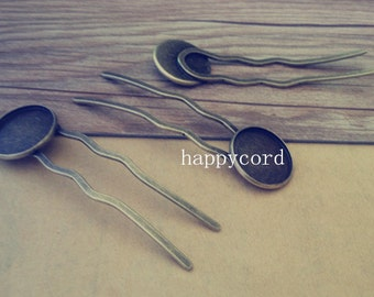 5pcs Antique bronze hairpin tray  20mm