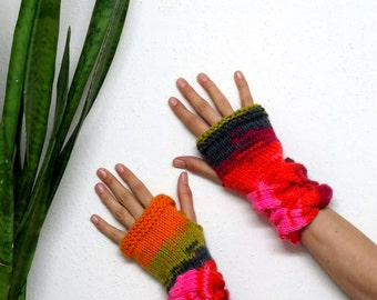 Knitted Mittens, Women's  Cozy Fingerless Gloves multicolor for winter, Fingerless Gloves, cable knit Gloves, rainbow colors