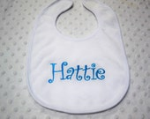 More Colors Available Personalized Baby Girl Bib Embroidered with Name Your Choice of Color - Hot Pink, Blue, Orange Monogrammed Embroidered