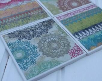Doilies And Lace Coasters Four Piece Ceramic Tile Set