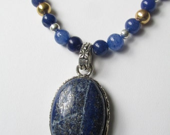 Nautical Lapis and Pyrite Stone Necklace