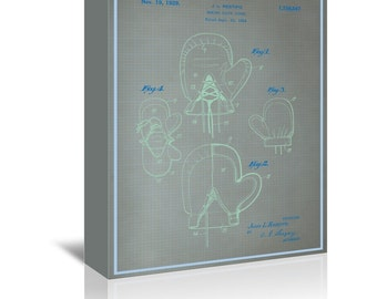 Boxing Gloves Blue Print Art Ready-to-Hang Premium Gallery Wrap Canvas