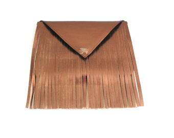 leather fringe bag, fringe clutch, bronze leather clutch, metallic leather clutch, leather fringe clutch, boho clutch, the 'Josephine'
