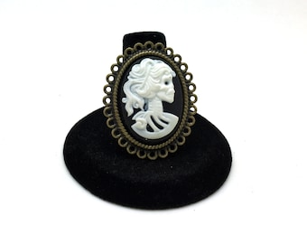 Steampunk Cameo Ring, Skeleton Ring, Skull Ring, Goth Ring, Lolita Ring, Rockabilly Ring, Rocker Ring, Halloween Ring