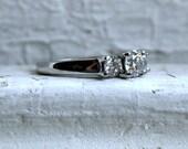 Classic Vintage Platinum Diamond Three Stone Engagement Ring - 1.05ct.