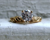 Vintage 14K Yellow Gold CZ Engagement Ring.