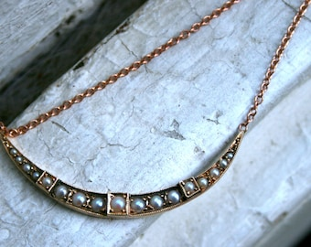 RESERVED - Antique Crescent Pearl Necklace.