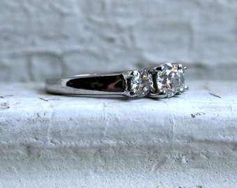Classic Vintage Platinum Diamond Three Stone Engagement Ring - 1.05ct.