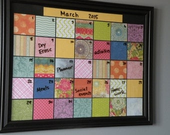 framed dry erase monthly calendar family organizer dorm room reusable planner home decor wall hanging sign