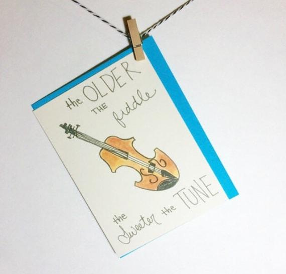 Folksy Fiddle Birthday Card. Birthday Card. Fiddle. Bluegrass Birthday
