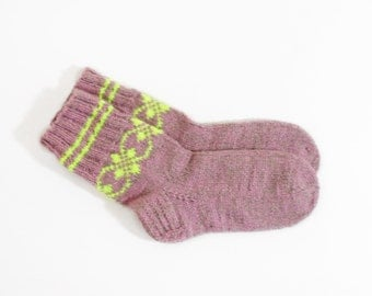Knitted Alpaca Wool Socks - Pink, Size Small