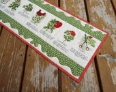 Table Runner, Table topper, quilted table runner, gardening, herbs, chives, basil, parsely, mint, dill, reversible
