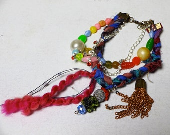 Bohemian Gypsy Upcycled Junk Jewelry Charm Silk Fiber 3Layer Bracelet