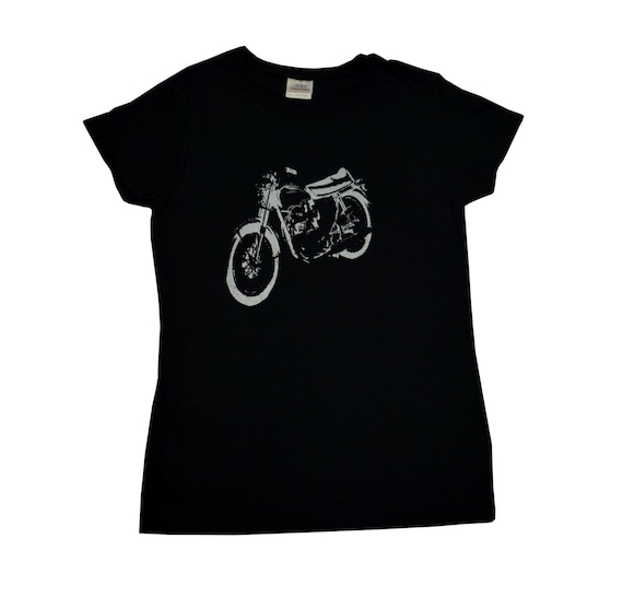 Vintage motorcycle t shirt screen printed women 39 s s m l xl for Vintage screen print t shirts