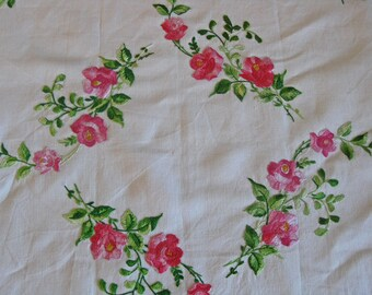 embroidered tablecloth table topper with pink roses and lace trim French country chic