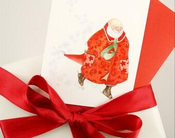 Ice skating santa snowflake card set Christmas red stocking stuffer gift teacher