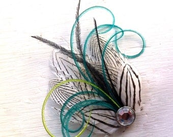 MILA Black and White, Turquoise, and Lime Striped Mini Feather Hair Clip with Crystal, Feather Fascinator