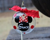 3 inch personalized Mickey or Minnie Mouse Christmas ornament