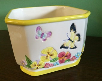 Vintage Planter Butterflies and Flowers