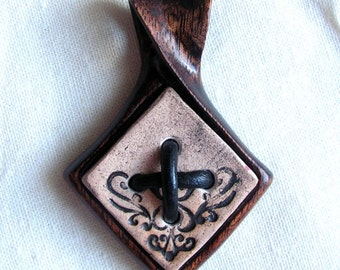 Hand carved wooden pendant with ceramic element Unique jewelry rustic boho