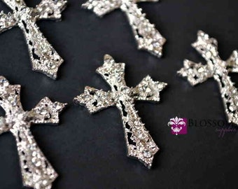 Flat Back Metal Rhinestone Cross Embellishments 27mmX35mm - Flower Centers - Wedding Bridal Prom
