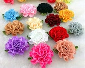 MIX 12pcs satin ribbon Carnation Flower Appliques/craft/Wedding decoration