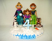 1 # FROZEN CORONATION Inspired theme Cake Topper with name & number