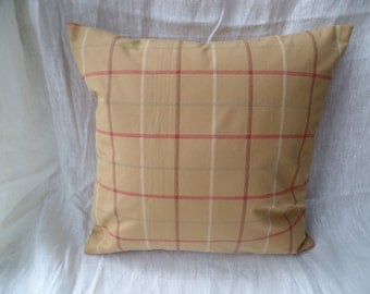 """Clearance modern mustard, red yellow check 16"""" cushion cover, pillow, pillow case, scatter cushion."""