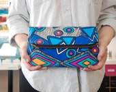 Blue Abstract Fold Over Clutch