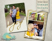 Christmas Card Template PHOTOSHOP TEMPLATE - Family Christmas Card Gold 128