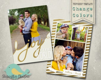 Christmas Card Template PHOTOSHOP TEMPLATE - Family Christmas Card Gold 128