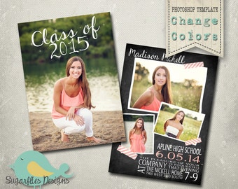 Graduation Announcement PHOTOSHOP TEMPLATE -  Senior Graduation 42