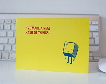 QWERKY computer key greetings card - HASH