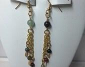 Fancy Jasper Gold Fishhook Dangle Earrings with Gold Tassels. Sea Foam. Forest Green. Marsala. Hunter Green. Brick Red. Handmade in USA.