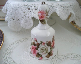 Vintage english hand bell, bone china collectible, tea bell, tray bell, excellent condition