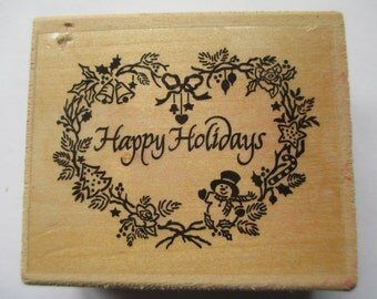 """Rubber Stamp """"Happy Holidays"""" Christmas stamp For cards scrapbooking slightly used good condition"""