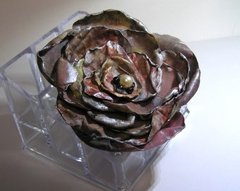Hand made  designed  hand painted victorian looking rose brooch barrette ponytail alligator clip