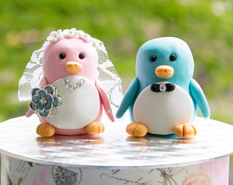 Blue & Pink Penguin Wedding Cake Topper
