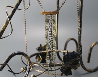 Long Rainfall necklace, brass chain pendant, rustic, tribal, gifts to her