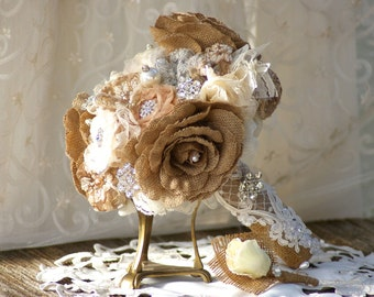 Burlap and Lace Brooch Bridal Bouquet FREE Boutonniere