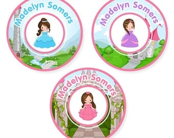Iron On Labels (2 Sizes), Princess (Pick Your Hair Color)