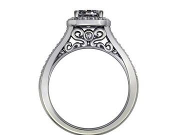 diamond halo cushion cut moissanite engagement  ring , wedding ring,style 125WDM