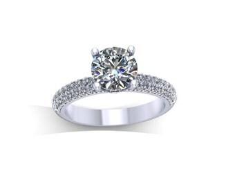 platinum diamonds forever brilliant moissanite engagement ring,handmade vintage rings,,style 22WDM